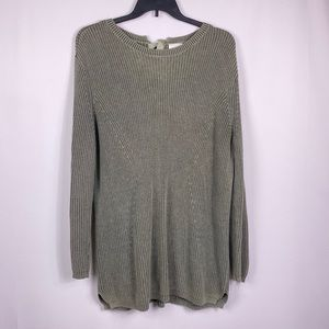 Caslon Olive Green tie back ribbed tunic sweater